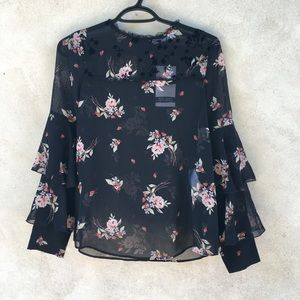 New Zara Black Flower Print Sleeve Ruffle Top